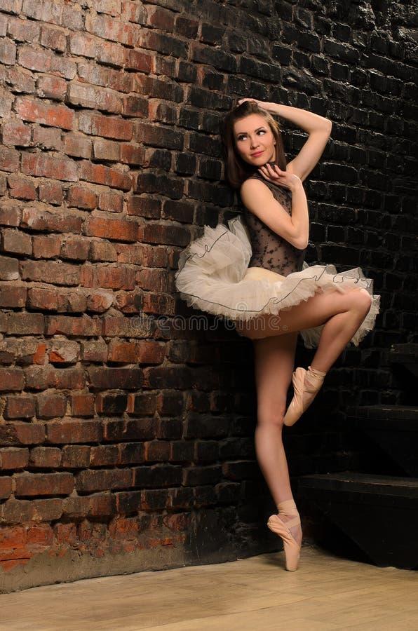 Балерина в балетной пачке около кирпичной стены стоковое фото rf