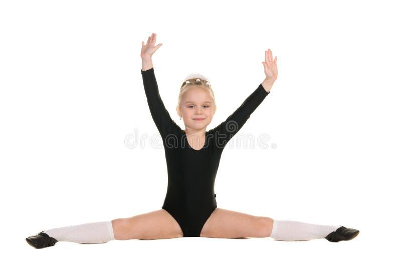 Балерина в черной тренировке купального костюма стоковая фотография rf