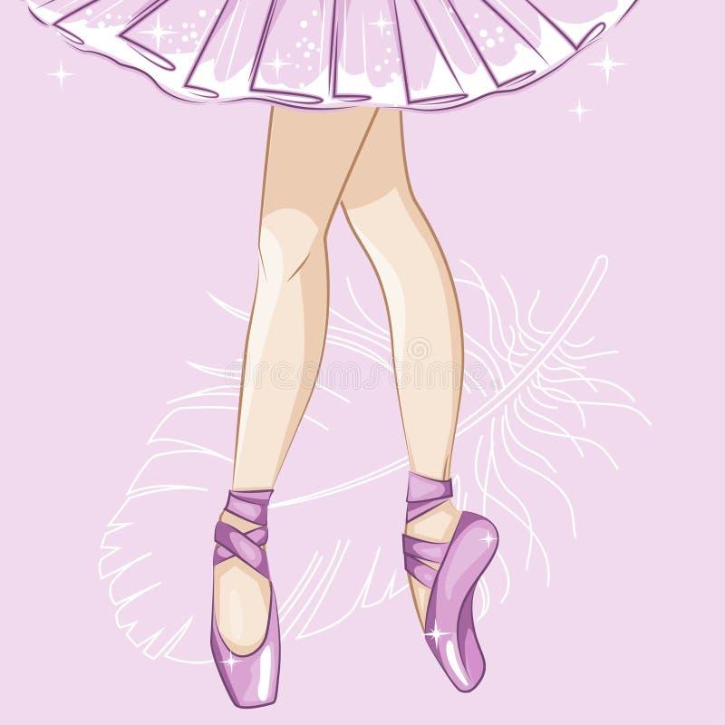 Балерина Худенькие ноги в тапочках балета иллюстрация штока
