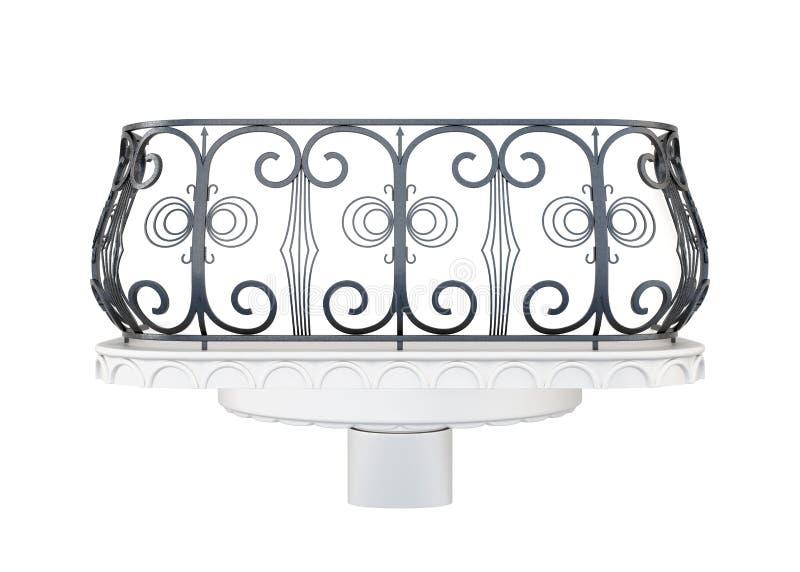 Балкон при декоративные перила изолированные на белой предпосылке иллюстрация вектора
