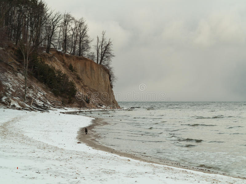 Балтийское море Гдыня, скала в Orlowo Польше. Пейзаж зимы стоковые фотографии rf