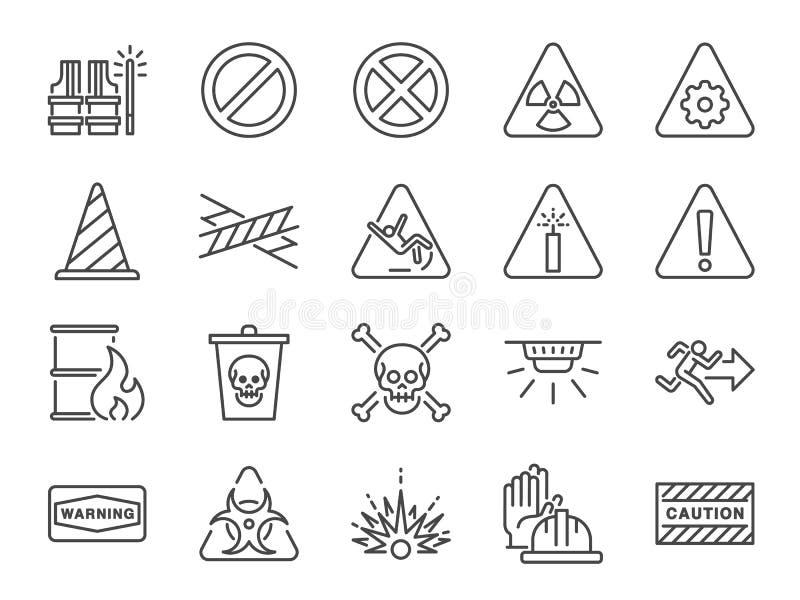 Бдительная линия набор значка Включенные значки как предупреждение, предосторежение, опасность, сигнал тревоги, извещение и больш иллюстрация вектора