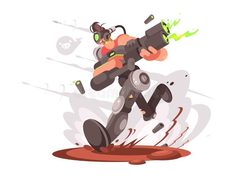Бега парня Gamer с взрывным устройством иллюстрация штока