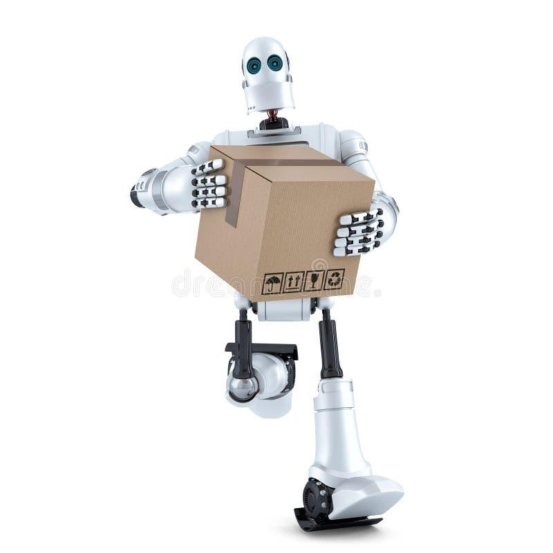 Бега робота с огромной коробкой пакета Содержит путь клиппирования иллюстрация штока