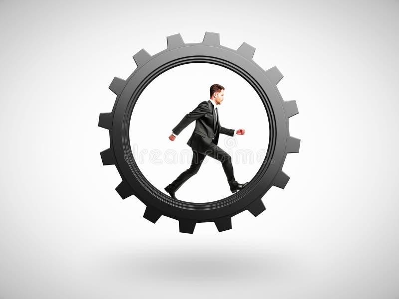 Бега человека в шестерне бесплатная иллюстрация