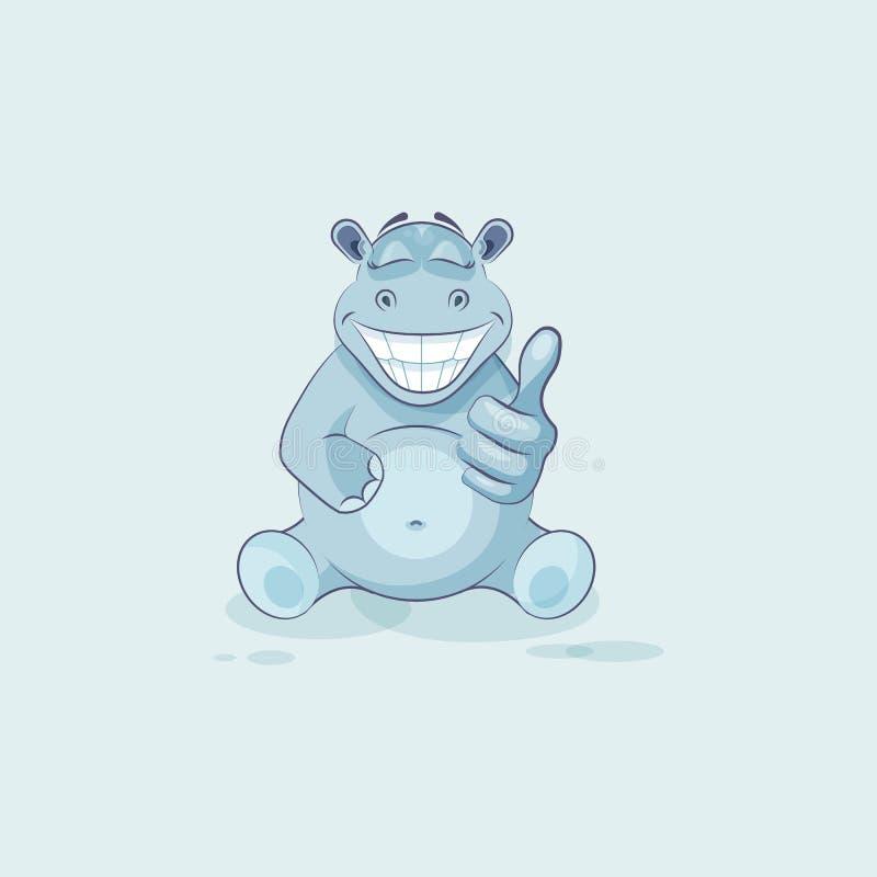 Бегемот шаржа характера Emoji одобряет с большим пальцем руки вверх иллюстрация вектора