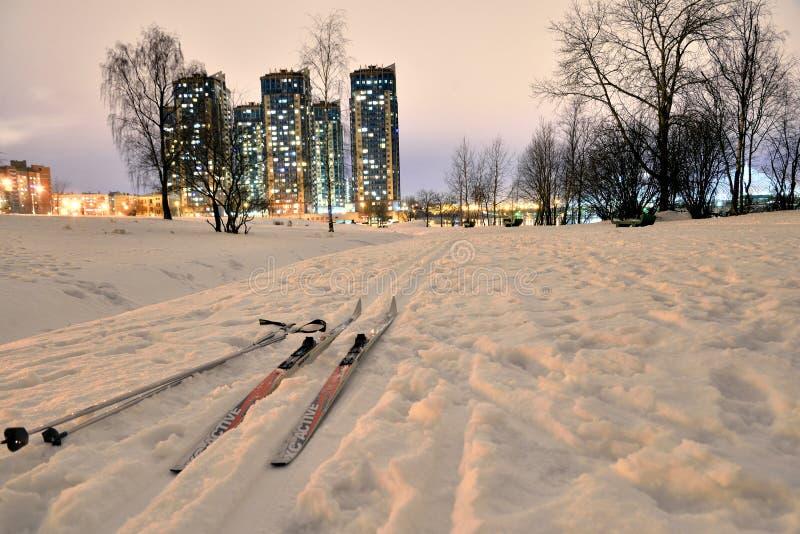 Беговые лыжи в парке на ноче зимы стоковые изображения rf
