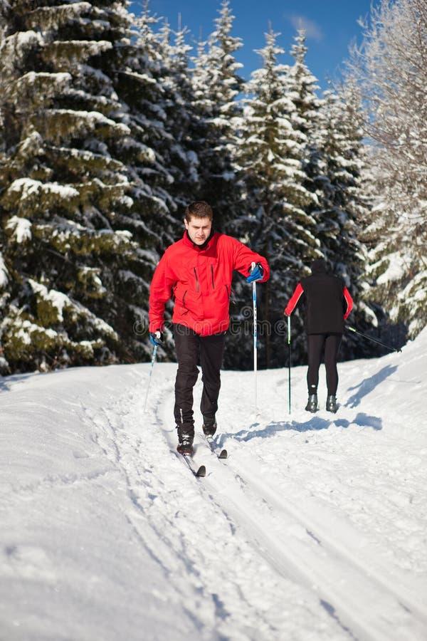 Беговые лыжи молодого человека на симпатичный зимний день стоковые изображения rf