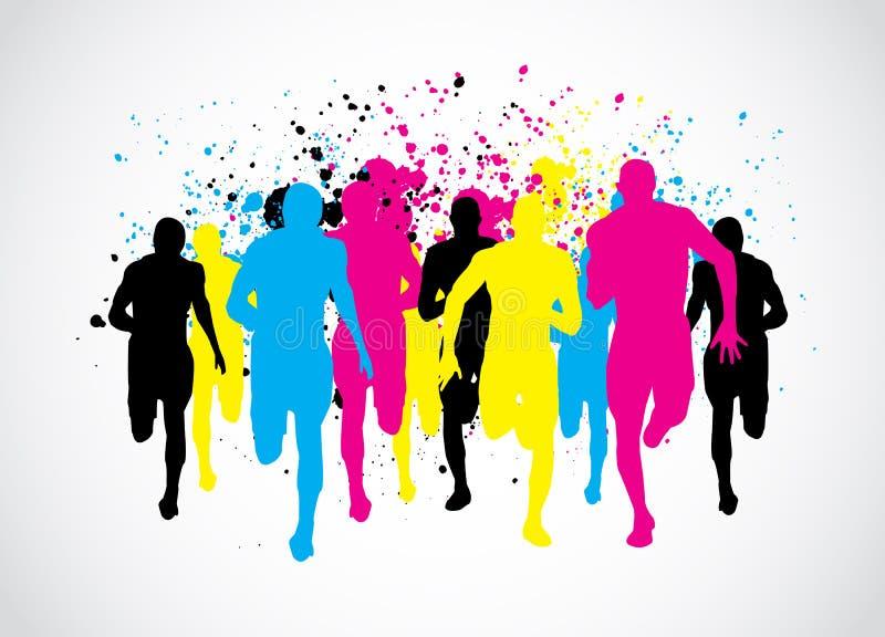 Бегунки марафона CMYK иллюстрация штока