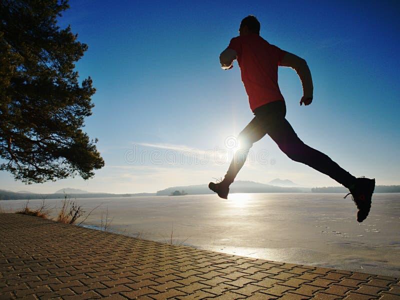 Бегун утра со спорт носит спешность в парке озера города стоковые изображения rf