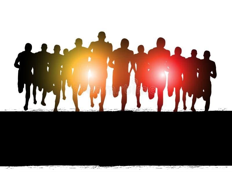 Бег марафона иллюстрация вектора