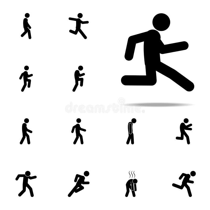 бег, медленно значок Набор идя, идущие значков людей всеобщий для сети и чернь иллюстрация штока
