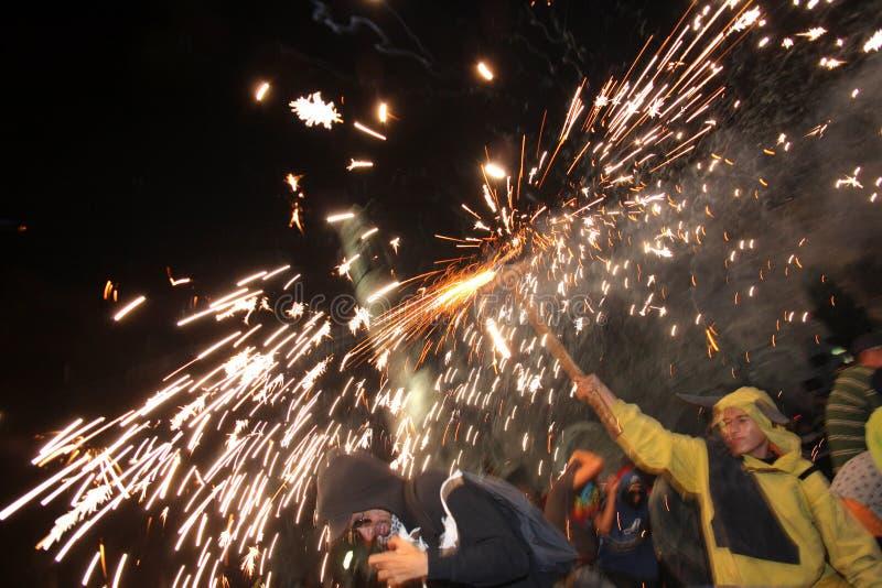 бег партии пожара barcelona стоковое изображение rf