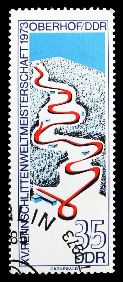 Бег санного спорта, чемпионаты мира санного спорта, serie Oberhof, около 1973 стоковое фото rf