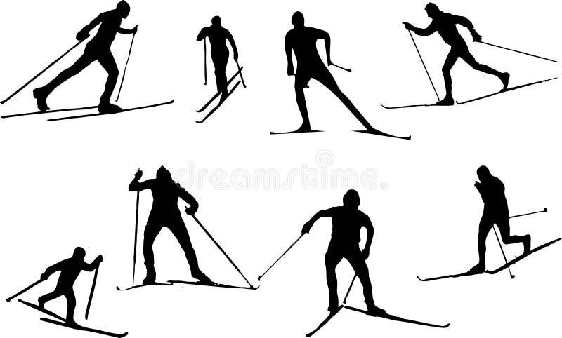 Бег лыжи силуэта стоковые фото