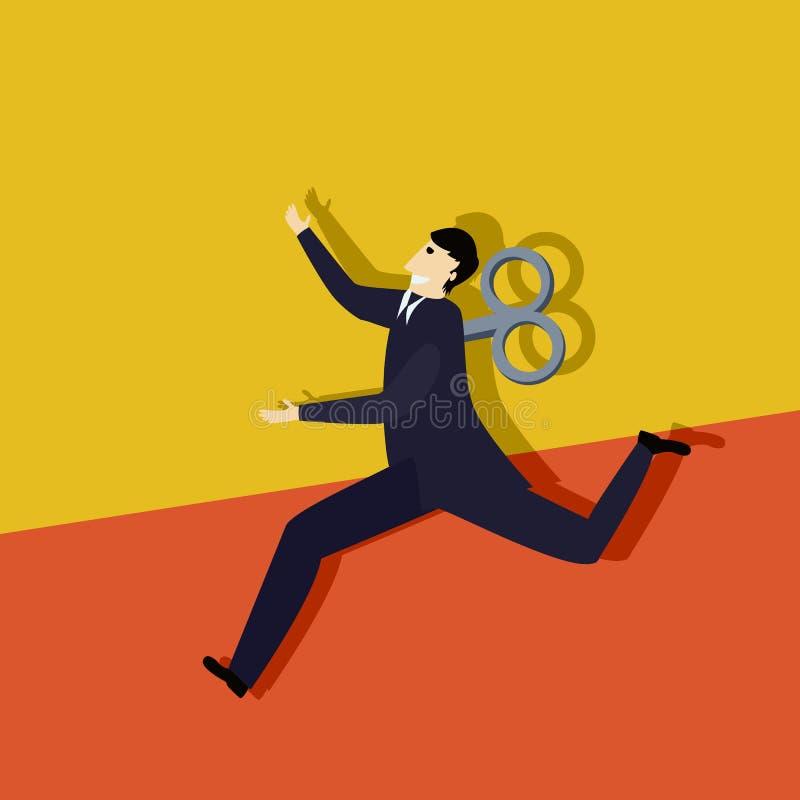 Бег clockwork бизнесмена иллюстрация вектора