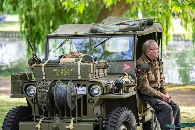 Бедфорд, Bedfordshire, Великобритания 2-ое июня 2019 Фестиваль ехать на автомобиле, Форд GPW 1944, u S Тележка армии, рекогносцир стоковая фотография