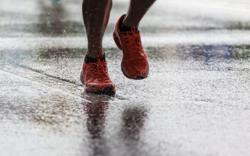 Бежать в дожде стоковые фотографии rf