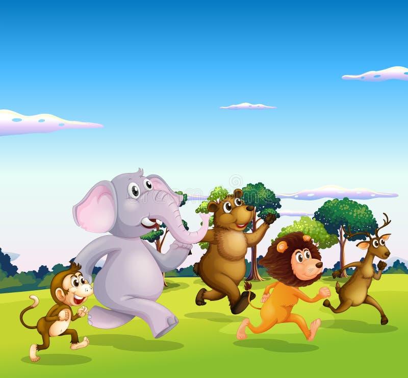 Бежать 5 диких животных иллюстрация вектора