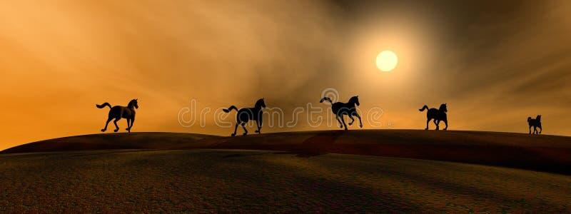 бежать лошадей бесплатная иллюстрация