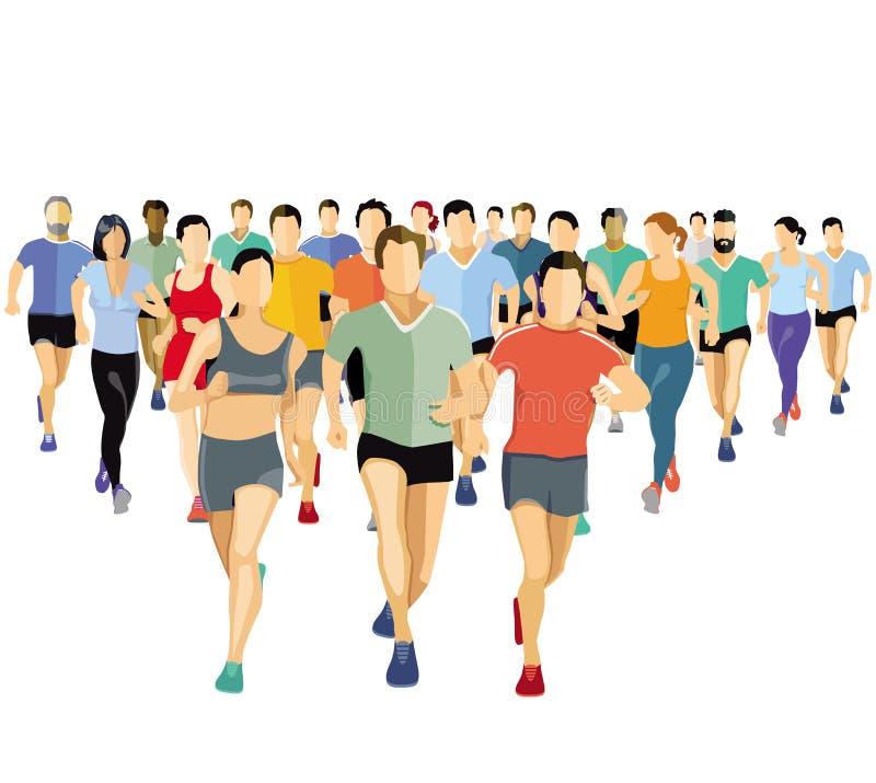 Бежать люди делая спорт иллюстрация штока