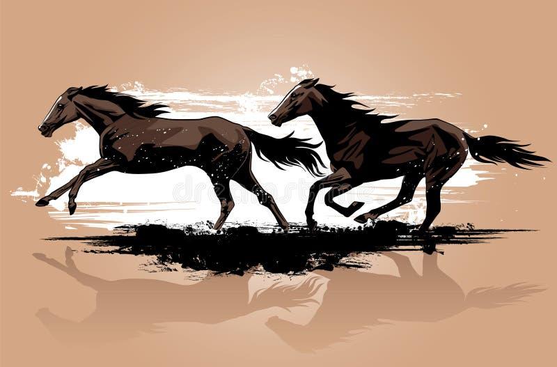 Бежать одичалых лошадей иллюстрация штока