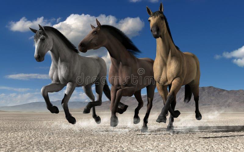 Бежать лошадей дерева иллюстрация вектора