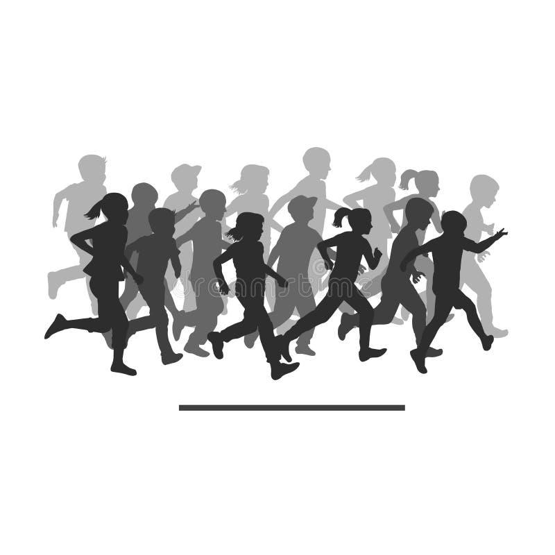 Толпа бегущих людей мультяшная картинка