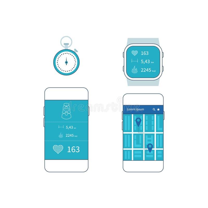 Бежать app на экране телефона и умного вахты иллюстрация штока