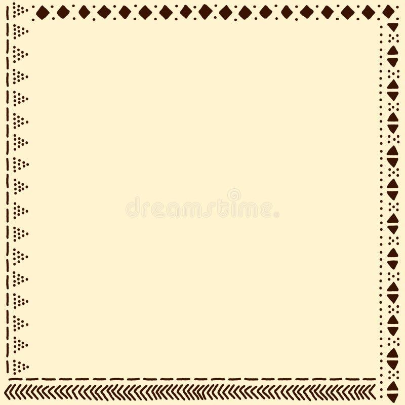 Бежевая и коричневая африканская рамка картины ткани mudcloth, вектор иллюстрация штока