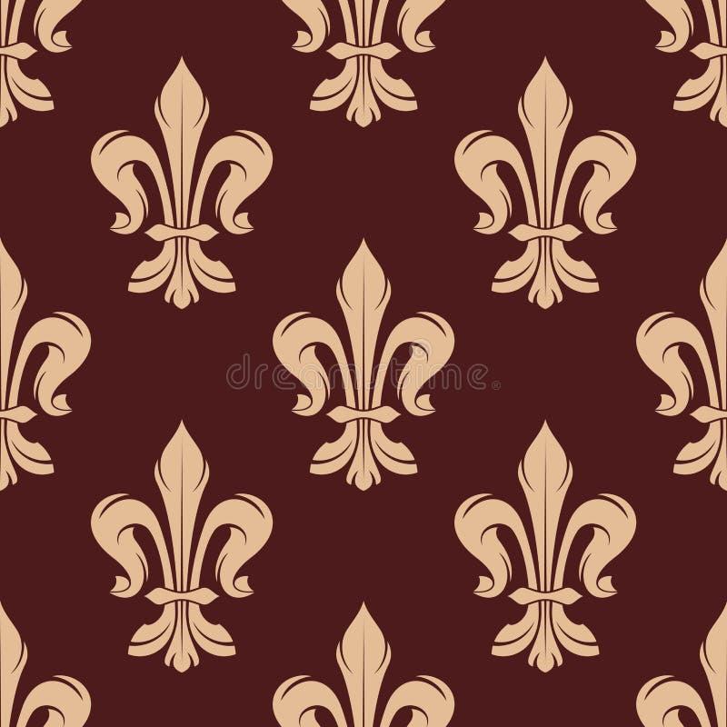Бежевая и коричневая флористическая безшовная картина иллюстрация вектора