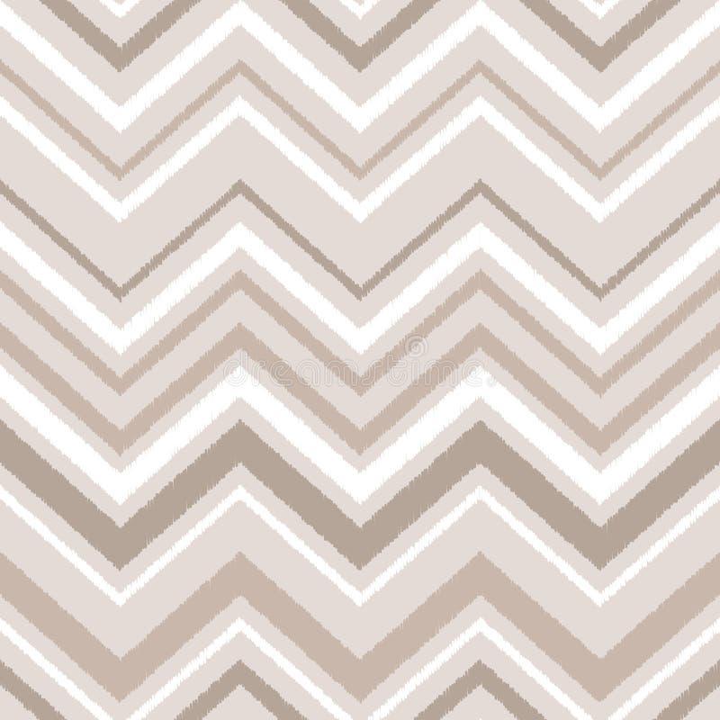 Бежевая картина коричневой и белой ткани орнамента ikat шеврона геометрической абстрактной безшовная, вектор бесплатная иллюстрация