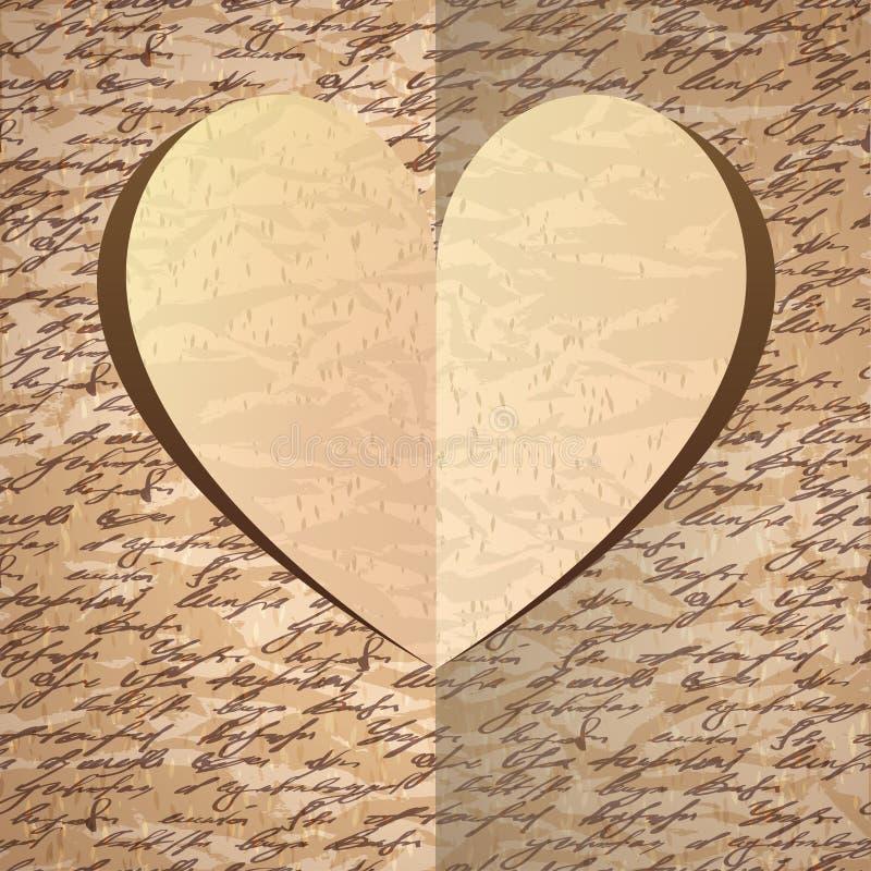 Бежевое бумажное сердце с картиной handwrite иллюстрация вектора