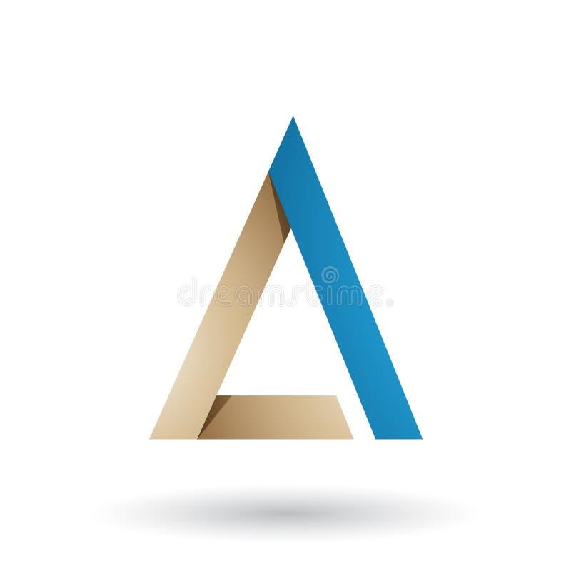 Бежевое и голубое сложенное письмо a треугольника изолировало на белой предпосылке иллюстрация штока
