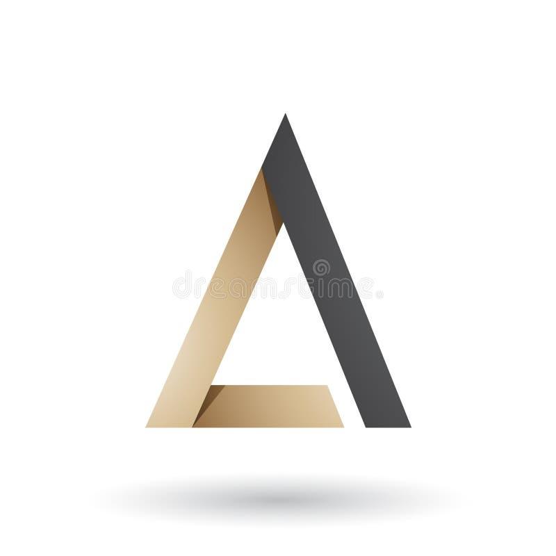 Бежевое и черное сложенное письмо a треугольника изолировало на белой предпосылке иллюстрация штока