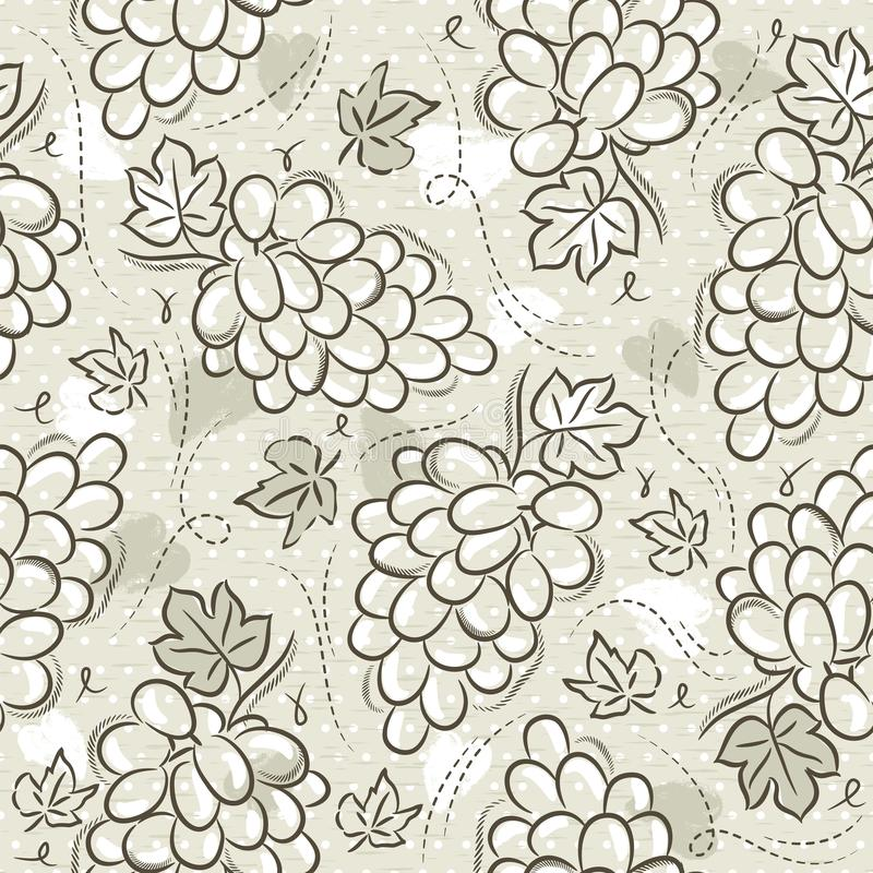Бежевые безшовные картины с виноградинами на предпосылке grunge Идеал для печати на резервирование ткани и бумаги или утиля, вект иллюстрация вектора