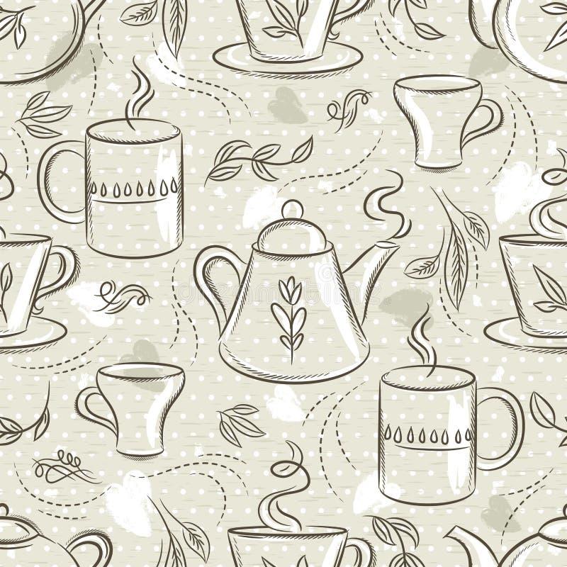 Бежевые безшовные картины с набором чая, чашкой, чайником, листьями, цветком и текстом Предпосылка с набором кофе Идеал для печат бесплатная иллюстрация
