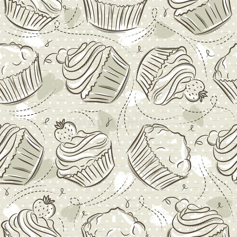 Бежевые безшовные картины с различными cupcaks на предпосылке grunge Идеал для печати на резервирование ткани и бумаги или утиля, бесплатная иллюстрация