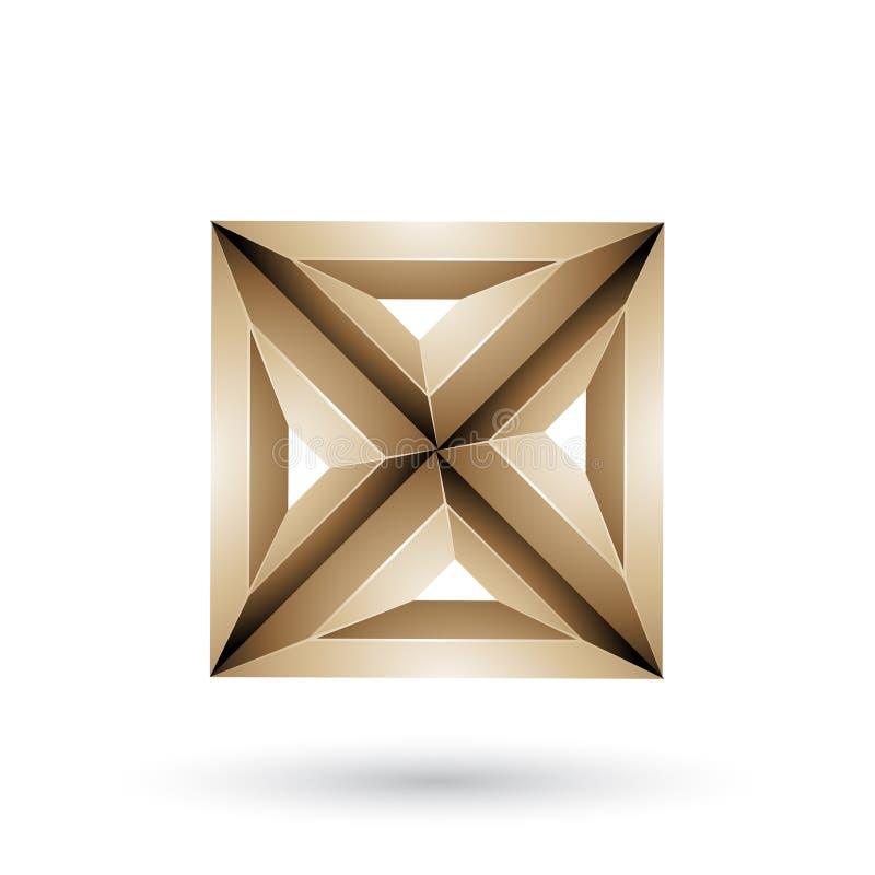 Бежевые геометрические выбитые квадрат 3d и треугольник формируют иллюстрацию вектора иллюстрация вектора