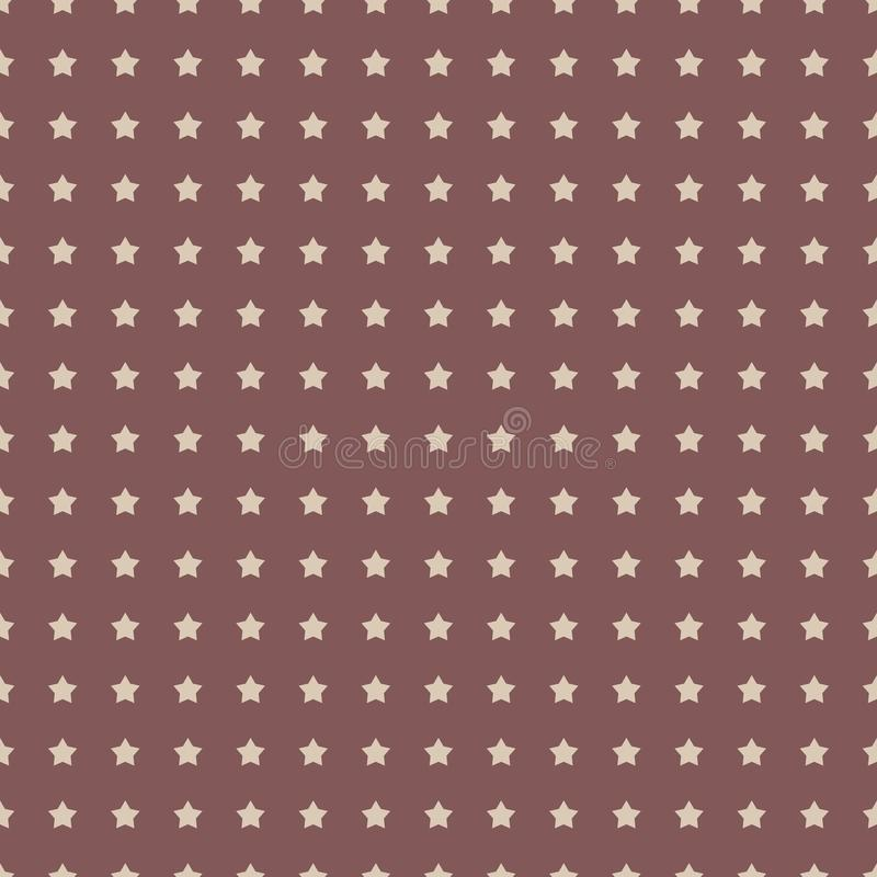 Бежевые звезды на картине для упаковки, ткани вектора коричневой предпосылки ретро безшовной, бумаге, предпосылке иллюстрация вектора
