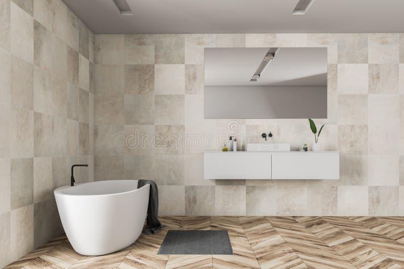 Бежевые интерьер, ушат и раковина bathroom плитки иллюстрация штока