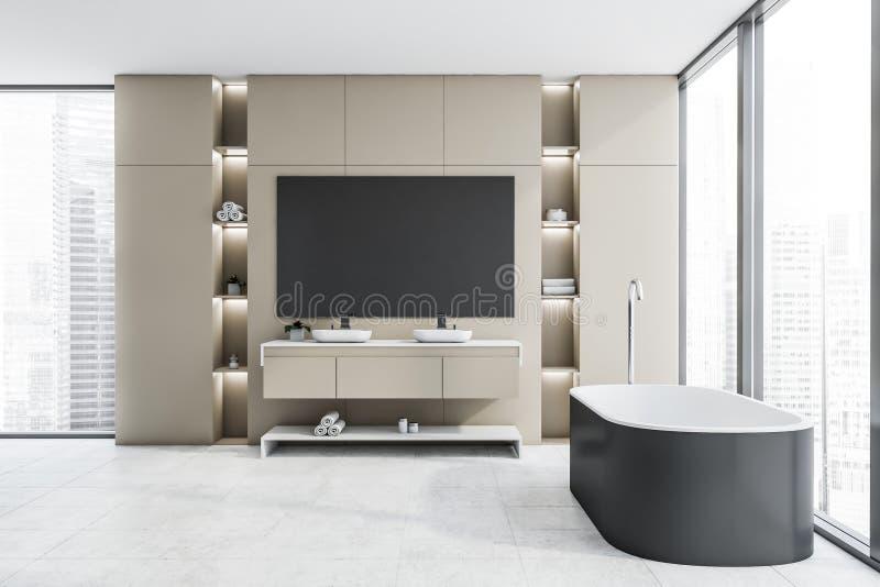 Бежевые интерьер, ушат и раковина bathroom просторной квартиры иллюстрация вектора
