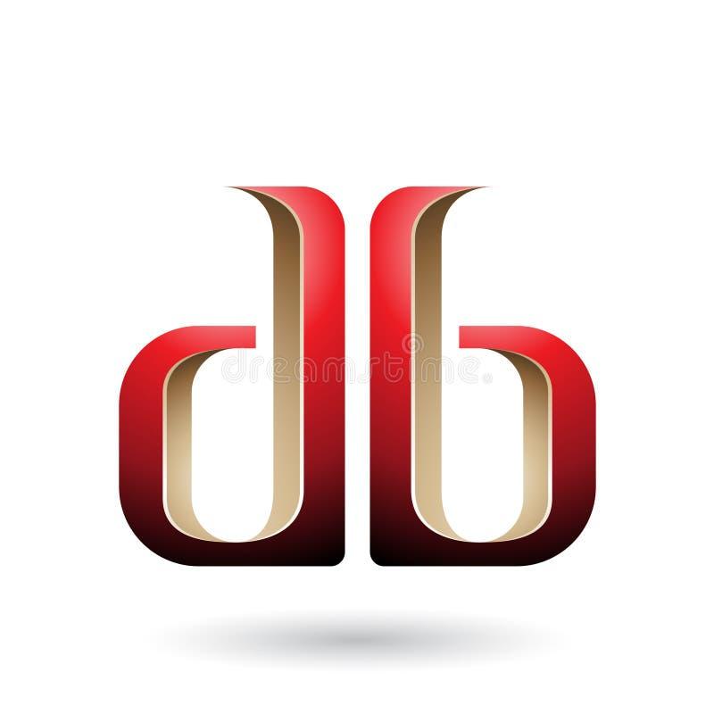 Бежевые и красные двойные, который встали на сторону письма d и b изолированные на белой предпосылке бесплатная иллюстрация