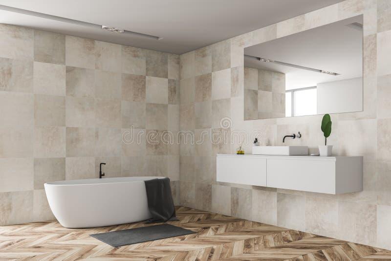 Бежевые угол, ушат и раковина bathroom плитки иллюстрация вектора