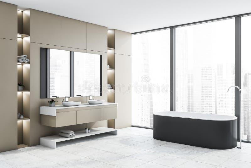 Бежевые угол, ушат и раковина bathroom просторной квартиры бесплатная иллюстрация