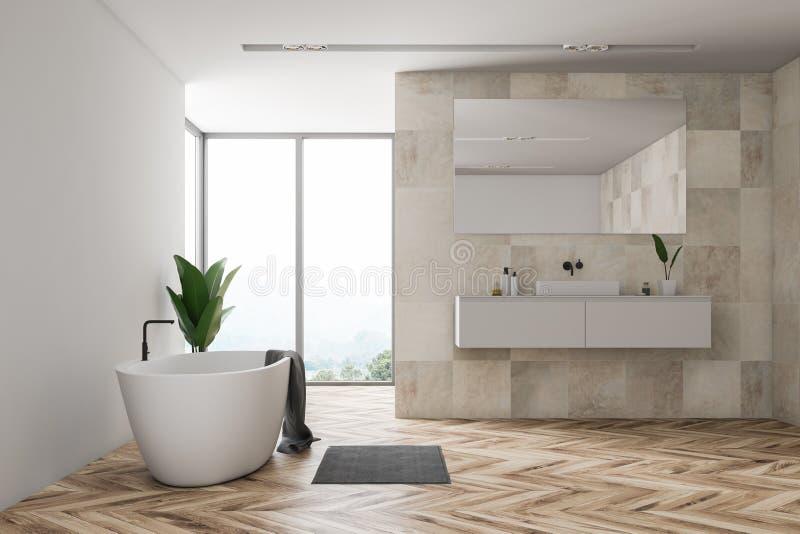 Бежевые bathroom, окно и ушат плитки бесплатная иллюстрация