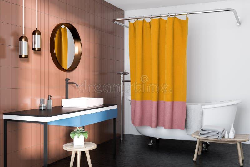 Бежевый взгляд со стороны интерьера ванной комнаты иллюстрация вектора