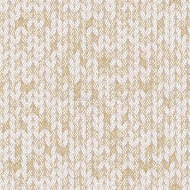Бежевый и коричневый меланж связал картину ткани безшовную, вектор иллюстрация штока