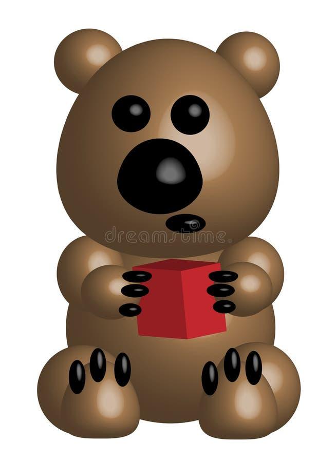 Бежевый медведь держит куб, 3d бесплатная иллюстрация