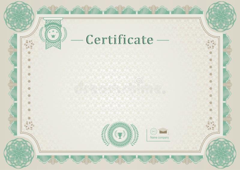 Бежевый официальный сертификат Граница guilloche Зеленые элементы   Бежевый официальный сертификат Граница guilloche Зеленые элементы дизайна Иллюстрация вектора иллюстрации насчитывающей диплом